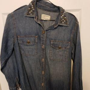 Current Elliott studded collar denim shirt